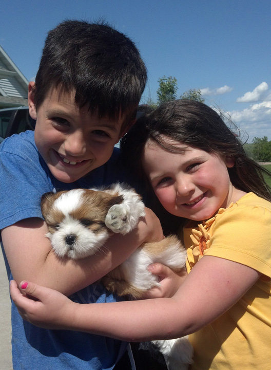 Henry and Lucy Zaleski with their dog Chubbs